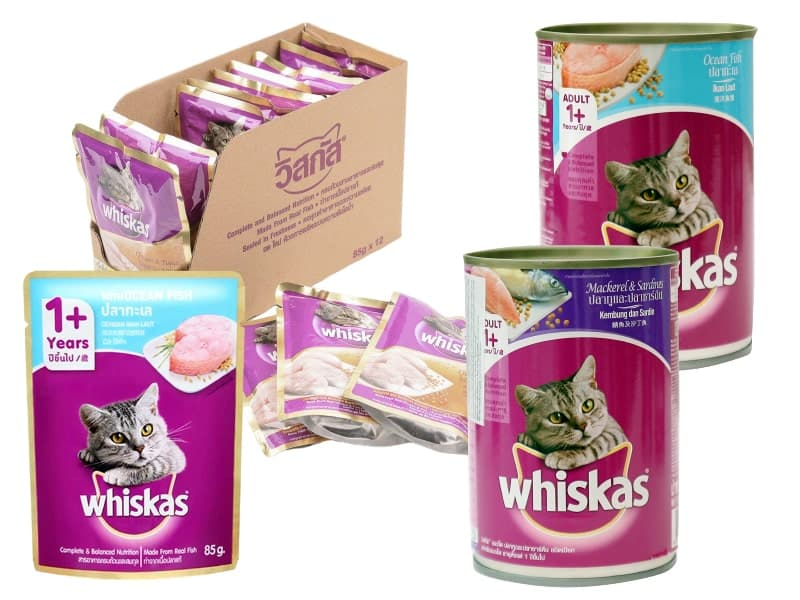 Pate whiskas cho mèo trưởng thành với nhiều hương vị khác nhau