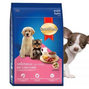 Thức ăn cho chó smart heart pupy vị thịt bò và sữa dành cho chó dưới 1 tuổi