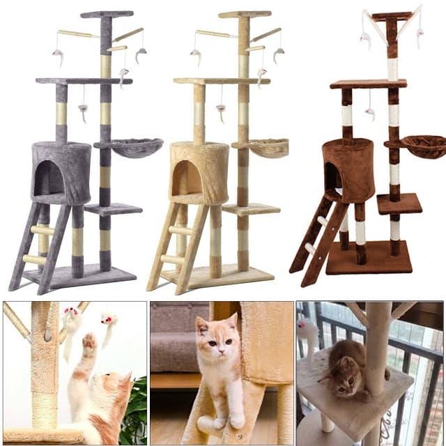 Tháp cây cho mèo làm từ chất liệu chống mài mòn, bền chắc