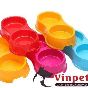 Bát ăn đôi nhựa dẻo cho thú cưng có nhiều màu sắc vừa đựng thức ăn hạt khô vừa đựng nước uống cho chó mèo và thú cưng