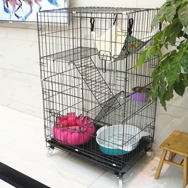 Mẫu chuồng 3 tầng cho mèo dễ dàng tháo rời, lắp ráp trong mọi không gian
